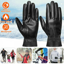 Winter Gloves Touch Screen Windproof Waterproof Leather Thick Warm Mittens Black $6.33