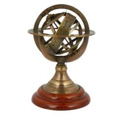 Globe Antique BRASS ARMILARY 5#x27;#x27; SPHERE NAUTICAL WOOD TABLE GIFTED ITEM $29.00