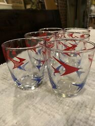 6 Rare Mid Modern 1950's 1 2 Pint Sour Cream Glasses With Blue amp; Red Boomerangs $59.99