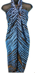 Navy Blue Copper Tie Dye Stripes Sarong Beach Cover Up Top Skirt NEW Pareo $11.99