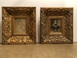 The Bombay Company Pair Gold Wood Framed Art Prints Young Girls Portraits 9x10 $129.99