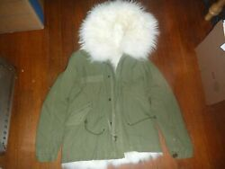 Mr amp; Mrs Italy Olive Green Fox Fur Hooded Jacket Size XXS Parka $764.95