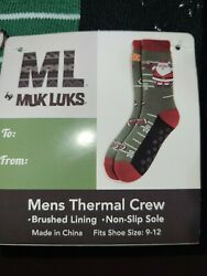 MUK LUKS Men Novelty Thermal Crew Sock Santa Football fits size 9 12 Non Slip $8.99