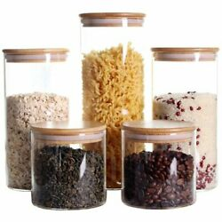 Set of 5 Glass Jar With Lid Stackable Kitchen Canisters Clear Food Storage $27.59
