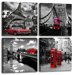 London Red Bus Picture Print Paris Canvas Wall Art for Bedroom Living Room Decor $29.99