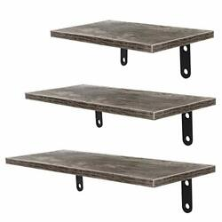Floating Shelves Wall Mounted Set of 3 Rustic Wood Wall for Weathered Gray $23.68