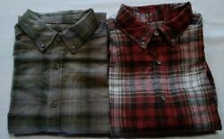 Wolverine Mens Lot Of 2 Flannel Shirts Green Rust Brown L S Sz Large NWT $34.00