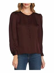 VINCE CAMUTO Womens Burgundy Long Sleeve Jewel Neck Blouse Top Size: L $13.99