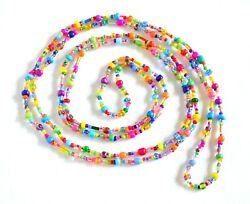 Handmade Multi Color Colorful Glass Seed Bead Long Boho Hippie Wrap Necklace 50quot; $8.99