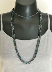 Handmade Metallic Luster Glass Seed Bead Extra Long Boho Wrap Necklace 100quot; $11.50