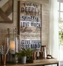 ■RARE■ PIER 1 COUNTRY RUSTIC WOOD LOVE LAUGH GIVE AFFIRMATION MSG SIGN WALL ART $90.00
