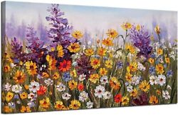 Daisy Colorful Bloosom Flower Painting Canvas Wall Art Modern Framed Bedroom $98.50