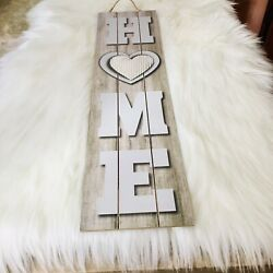 "Rustic ""Home"" Galvanized Heart Wooden Long Plank Hanging Wall Door Art Decor $16.00"