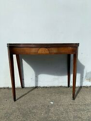 Antique Table Flip Top Game Card Table Wood Accent Console Traditional American $399.00