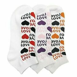 New Mixed Lot 6 Pair#x27;s Women Novelty Love and Hearts Low Cut Ped Socks SZ 9 11 $8.99