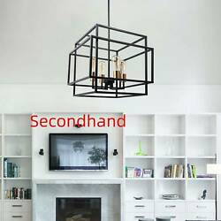 Secondhand 4 Light Open Box Frame Pendant Chandelier Candle Style Rectangle $69.99