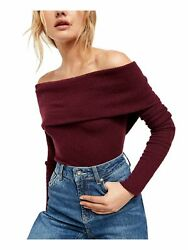 FREE PEOPLE Womens Burgundy Long Sleeve Off Shoulder Top Size: L $15.99