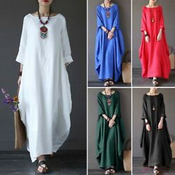 Womens 3 4 Sleeve Solid Baggy Kaftan Casual Summer Holiday Maxi Dress Plus Size $22.70