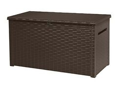Extra Large 230 Gallon Rattan Style Deck Box Plastic Resin Outdoor Storage $189.99