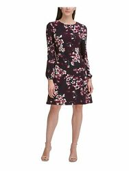 TOMMY HILFIGER Womens Burgundy Long Sleeve Above The Knee A Line Party Dress 2 $22.99