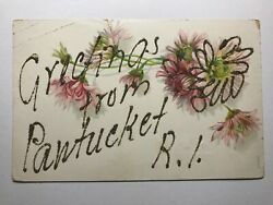 Greetings from Pawtucket Rhode Island RI Glitter Postcard $9.99