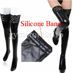 Sexy Latex Long Stockings Ladies Black Faux Leather Thigh High Plus Size Hosiery $11.69