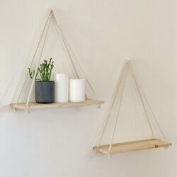 Wooden Rope Swing Wall Hanging Plant Flower Tray Mounted Floating Shelves Nordic $8.99