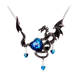 Dragon Pendant Large Blue Crystal Chain Necklace Gothic Black Ginger Lyne