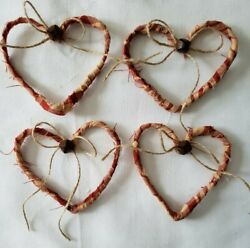 Primitive Bowl Fillers Ornies Country Rustic Farmhouse Decor Hearts 4 pc $5.99