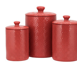 Wrought Studio 3 Piece Kitchen Red Canister Set $69.00