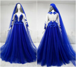 Royal Blue Gothic Wedding Dresses Lace appliques Beach Bohemian Bridal Gown