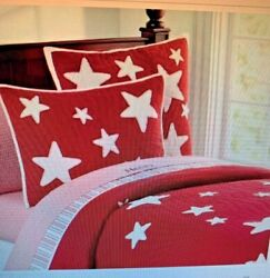 Pottery Barn Kids Star Quilt amp; Pillowcase in Red and White Twin $64.95
