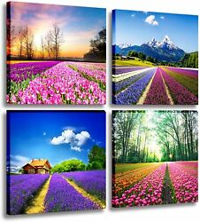 Canvas Print Tulip Lavender Field Wall Art Colorful Flowers Framed Bedroom Decor $32.68