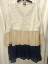 Calstyle Womens Blouse Shirt Dress Off White Tan Blue Baby Doll Crochet XL BOHO $15.00