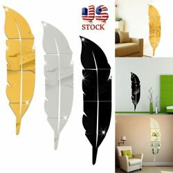 US 3D DIY Removable Home Mirror Wall Stickers Decal Art Vinyl Room Decor Feather $7.49