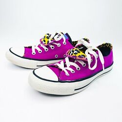 Converse All Star Womens Chuck Sneakers Shoes Sz 8 Low Top Purple Double Tongue $37.50