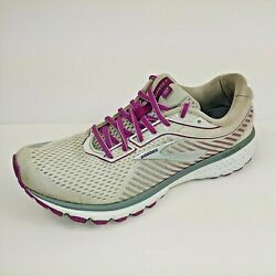 Brooks Ghost 12 Womens Size 9.5 US Running Shoes White Purple Grey 1203051B186 $38.95