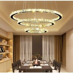 Modern LED K9 Crystal Chandelier Pendant Lamp Flush Mount Ceiling Light Fixture $109.99