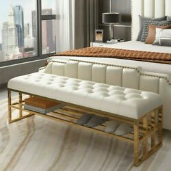Modern Entryway Bench Beige Faux Leather Upholstered Ottoman Seating 2 People $429.99