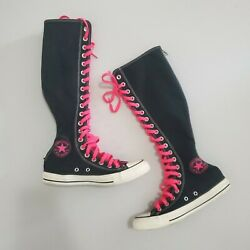 Converse All Star Knee High Zip Canvas Black Pink Lace up Boot Sneaker Shoe sz 7 $104.95