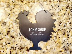FARM SHOP Rooster Chicken Shape Metal Sign 5 x 5 Country Rustic Farmhouse $7.00
