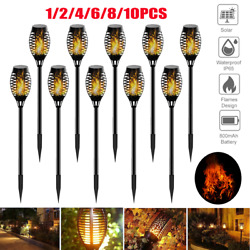 10Pcs Outdoor LED Solar Yard Torch Light Garden Patio Path Flickering Flame Lamp