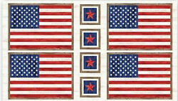 Patriotic American Flag Star Cotton Fabric Pamp;B Sweet Land of Libery 24quot; Panel $8.95
