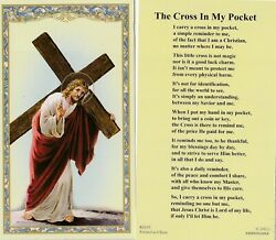 Holy Card quot;Jesus Carries Crossquot; Cross in My Pocket *Prayer on Back #2 $3.31