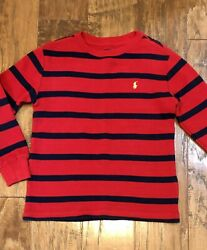 Polo Ralph Lauren Boys Size 6 Red And Navy Striped Waffle Knit Shirt Top $6.99