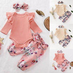 Infant Newborn Baby Girl Romper Tops Jumpsuit Pants Headband Outfits Clothes Set $14.99