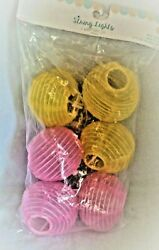 6 Chinese lanterns battery operated indoor string lights 2.5#x27; Warm White LED NEW $4.50