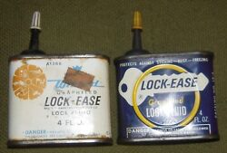 TWO Vintage LOCK EASE Graphited Lock Fluid Advertising Tin Oil Cans $11.99