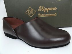 Slippers International Mens Opera Leather Slip on SZ 9.0 D WIDE Burgundy 17717 $38.50