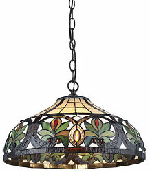 Tiffany Style Sunrise Hanging Lamp Stained Glass 16quot; Shade Handcrafted $139.99